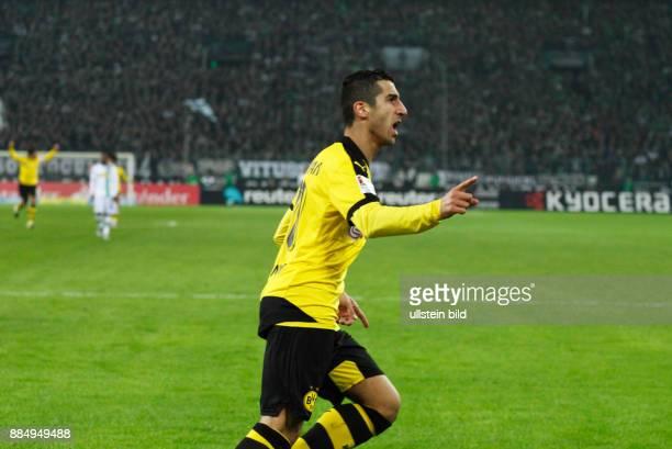 sports football Bundesliga 2015/2016 Borussia Moenchengladbach versus Borussia Dortmund 13 Stadium Borussia Park rejoicing of goal scorer Henrikh...