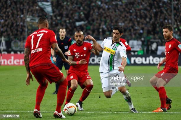 sports football Bundesliga 2015/2016 Borussia Moenchengladbach versus FC Bayern Muenchen 31 Stadium Borussia Park scene of the game fltr Jerome...