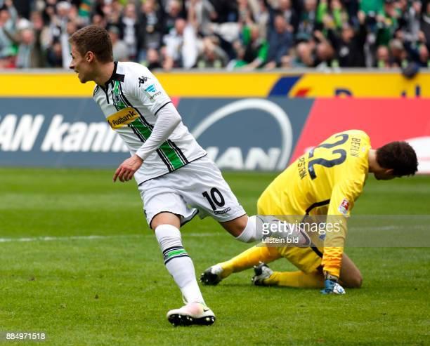 sports football Bundesliga 2015/2016 Borussia Moenchengladbach versus Hertha BSC Berlin 50 Stadium Borussia Park rejoicing of goal scorer Thorgan...