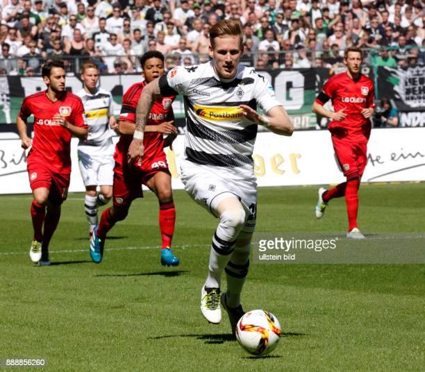 sports football Bundesliga 2015/2016 Borussia Moenchengladbach versus Bayer 04 Leverkusen 21 Stadium Borussia Park scene of the match Andre Hahn in...