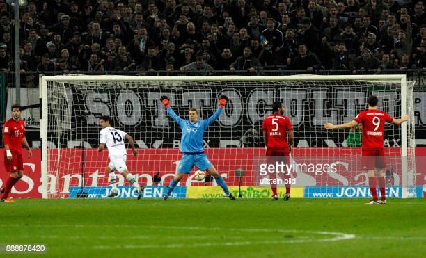 sports football Bundesliga 2015/2016 Borussia Moenchengladbach versus FC Bayern Muenchen 31 Stadium Borussia Park scene of the game 20 goal fltr...