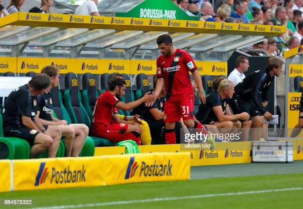 sports football Bundesliga 2016/2017 Borussia Moenchengladbach versus Bayer 04 Leverkusen 21 Stadium Borussia Park substitutes bench double change...