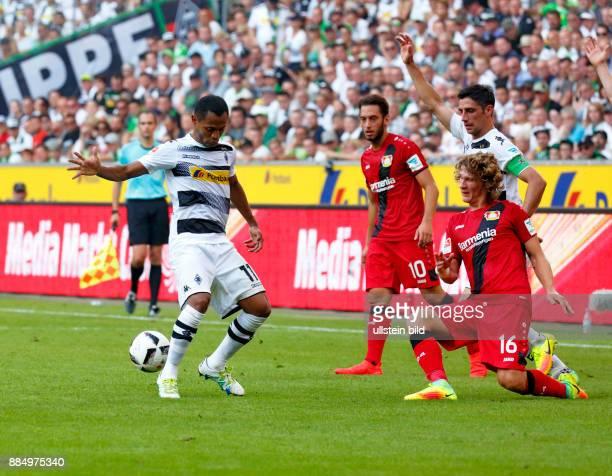 sports football Bundesliga 2016/2017 Borussia Moenchengladbach versus Bayer 04 Leverkusen 21 Stadium Borussia Park scene of the match fltr Raffael...