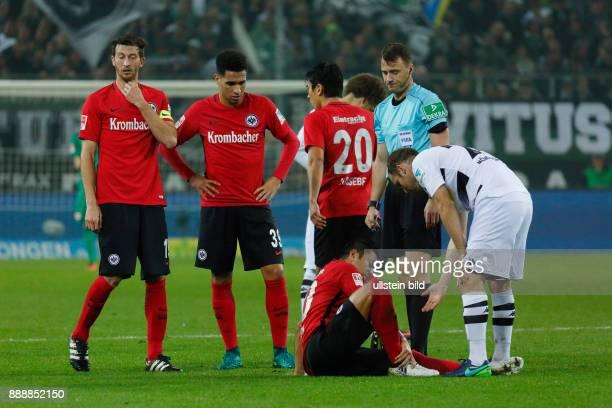 sports football Bundesliga 2016/2017 Borussia Moenchengladbach versus Eintracht Frankfurt 00 Stadium Borussia Park Marco Fabian lies injured aground...