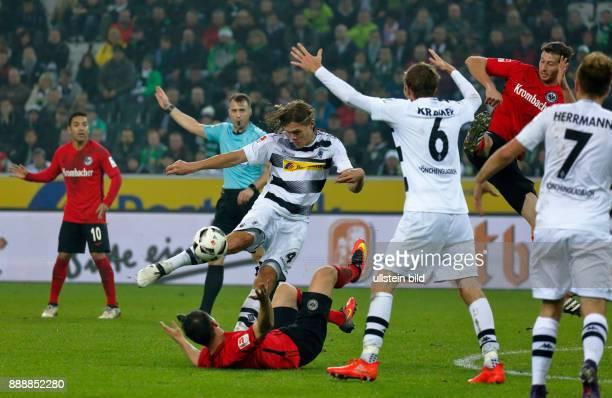 sports football Bundesliga 2016/2017 Borussia Moenchengladbach versus Eintracht Frankfurt 00 Stadium Borussia Park scene of the match fltr Marco...