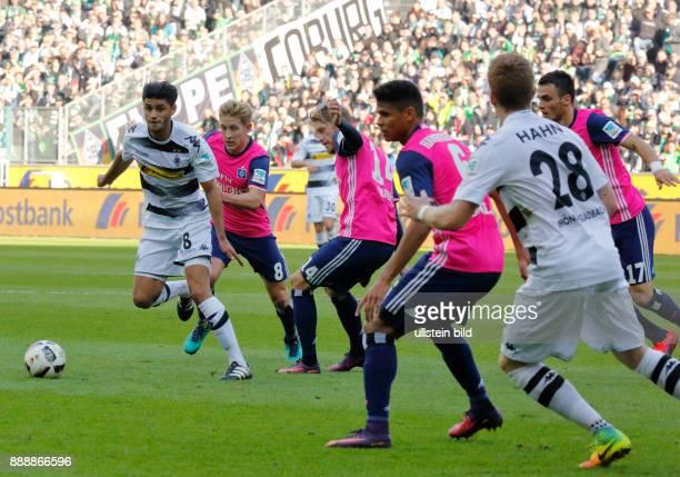 sports football Bundesliga 2016/2017 Borussia Moenchengladbach versus Hamburger SV 00 Stadium Borussia Park scene of the match fltr Mahmoud Dahoud...