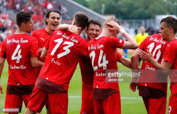 sports football Lower Rhine Cup 2015/2016 final Rot Weiss Essen versus Wuppertaler SV 30 Stadium Essen Hafenstrasse rejoicing at the 30 by Moritz...