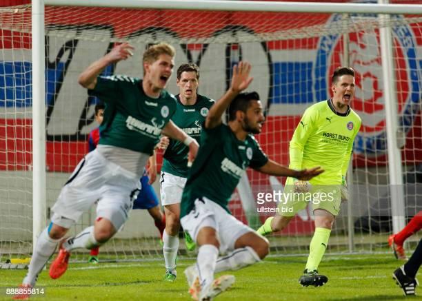 sports football Lower Rhine Cup 2015/2016 semifinal Wuppertaler SV versus Rot Weiss Oberhausen 64 on penalties Stadium Am Zoo in Wuppertal rejoicing...