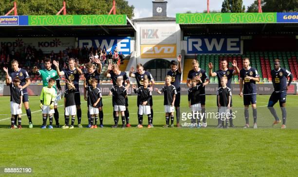 sports football Regional League West 2016/2017 Rot Weiss Oberhausen versus Bonner SC 51 Stadium Niederrhein in Oberhausen team Bonn and runningin...