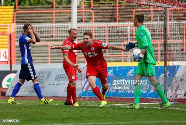 sports football Regional League West 2016/2017 Rot Weiss Oberhausen versus FC Schalke 04 U23 11 Stadium Niederrhein in Oberhausen rejoicing at the...
