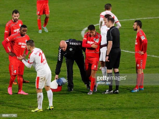 sports football Regional League West 2016/2017 Rot Weiss Oberhausen vs Rot Weiss Essen 22 Stadium Niederrhein in Oberhausen injured RWO player fltr...
