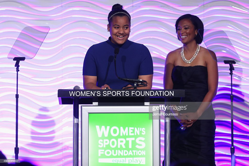 Sports For Life Grant recipients speak onstage with WSF President Angela Hucles during the 36th Annual Salute to Women In Sports at Cipriani Wall...