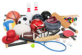 Sports game equipment. 3D rendering isolated on white background