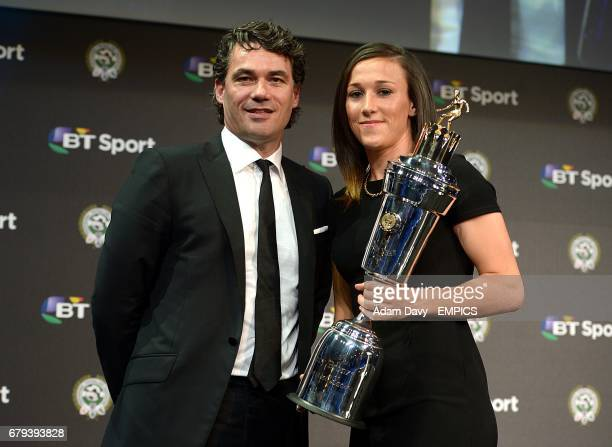 BT Sport's Gavin Patterson alongside Winner of PFA Women's Players' Player of the Year Lucy Bronze during the PFA Player of the Year Awards 2014 at...