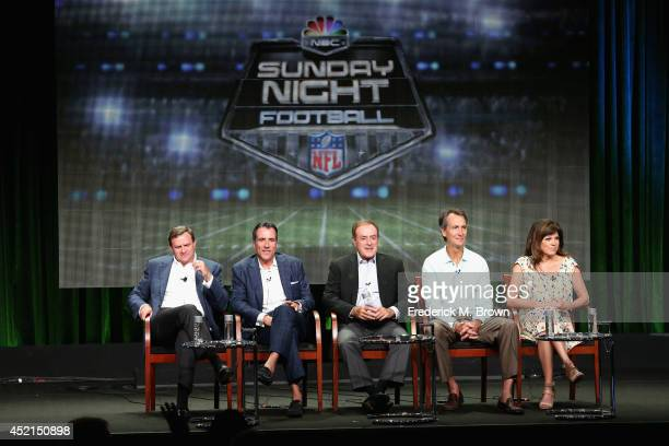 NBC Sports Group Chairman Mark Lazarus Coordinating producer Fred Gaudelli Onair talent Al Michaels Cris Collinsworth and Michele Tafoya speak...
