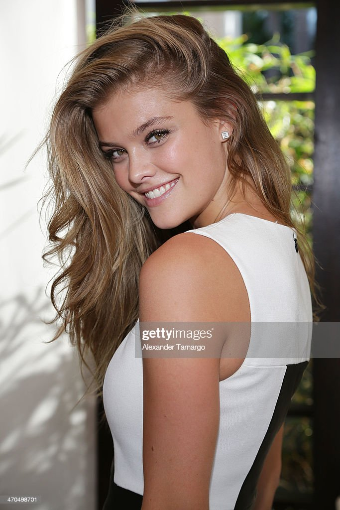 Sports Illustrated Cover Model Nina Agdal poses during the Captain Morgan White Rum and Sports Illustrated Swimsuit's 50th anniversary poolside celebration at Fontainebleau Miami Beach on February 19, 2014 in Miami Beach, Florida.