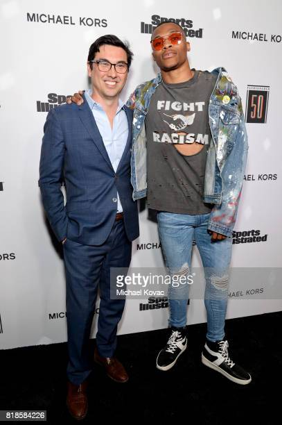 Sports Illustrated editor in chief Chris Stone and Sports Illustrated Fashionable 50 honoree Russell Westbrook at Sports Illustrated 2017 Fashionable...