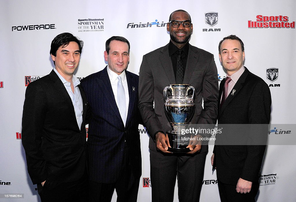 Sports Illustrated Managing Editor Chris Stone, 2011 Sports Illustrated Sportsman of the Year <a gi-track='captionPersonalityLinkClicked' href=/galleries/search?phrase=Mike+Krzyzewski&family=editorial&specificpeople=213322 ng-click='$event.stopPropagation()'>Mike Krzyzewski</a>, 2012 Sports Illustrated Sportsman of the Year <a gi-track='captionPersonalityLinkClicked' href=/galleries/search?phrase=LeBron+James&family=editorial&specificpeople=201474 ng-click='$event.stopPropagation()'>LeBron James</a>, and Time Inc. Sports Group Editor Paul Fichtenbaum attend the 2012 Sports Illustrated Sportsman of the Year award presentation at Espace on December 5, 2012 in New York City.