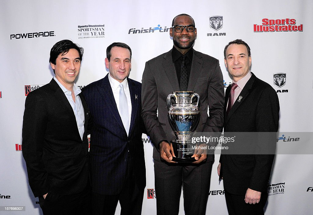 Sports Illustrated Managing Editor Chris Stone, 2011 Sports Illustrated Sportsman of the Year Mike Krzyzewski, 2012 Sports Illustrated Sportsman of the Year LeBron James, and Time Inc. Sports Group Editor Paul Fichtenbaum attend the 2012 Sports Illustrated Sportsman of the Year award presentation at Espace on December 5, 2012 in New York City.