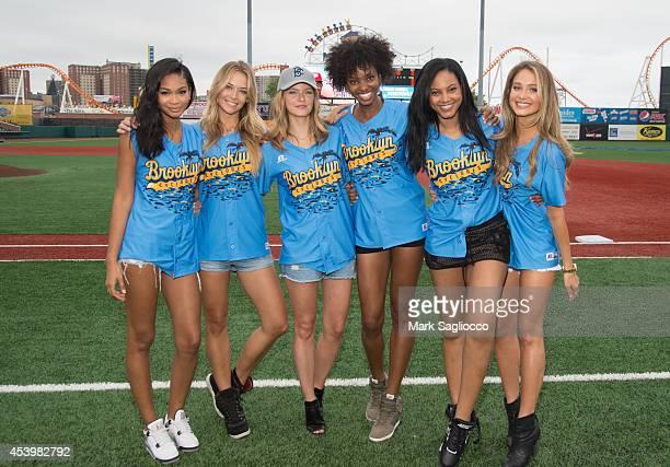 Sports Illustrated Models Chanel Iman Hannah Ferguson Jess Perez Adaora Akubilo Ariel Meredith and Hannah Davis attend the 2014 Brooklyn Beach Party...