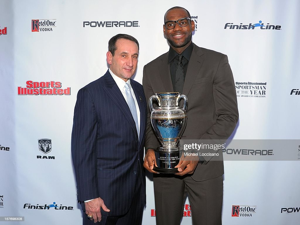 Sports Illustrated Sportsman of the Year <a gi-track='captionPersonalityLinkClicked' href=/galleries/search?phrase=Mike+Krzyzewski&family=editorial&specificpeople=213322 ng-click='$event.stopPropagation()'>Mike Krzyzewski</a> (L) and 2012 Sports Illustrated Sportsman of the Year <a gi-track='captionPersonalityLinkClicked' href=/galleries/search?phrase=LeBron+James&family=editorial&specificpeople=201474 ng-click='$event.stopPropagation()'>LeBron James</a> attend the 2012 Sports Illustrated Sportsman of the Year award presentation at Espace on December 5, 2012 in New York City.