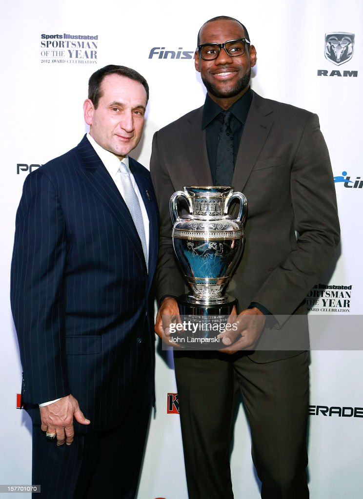 Sports Illustrated Sportsman of the Year <a gi-track='captionPersonalityLinkClicked' href=/galleries/search?phrase=Mike+Krzyzewski&family=editorial&specificpeople=213322 ng-click='$event.stopPropagation()'>Mike Krzyzewski</a> and 2012 Sports Illustrated Sportsman of the Year <a gi-track='captionPersonalityLinkClicked' href=/galleries/search?phrase=LeBron+James&family=editorial&specificpeople=201474 ng-click='$event.stopPropagation()'>LeBron James</a> attend the 2012 Sports Illustrated Sportsman of the Year award presentation at Espace on December 5, 2012 in New York City.