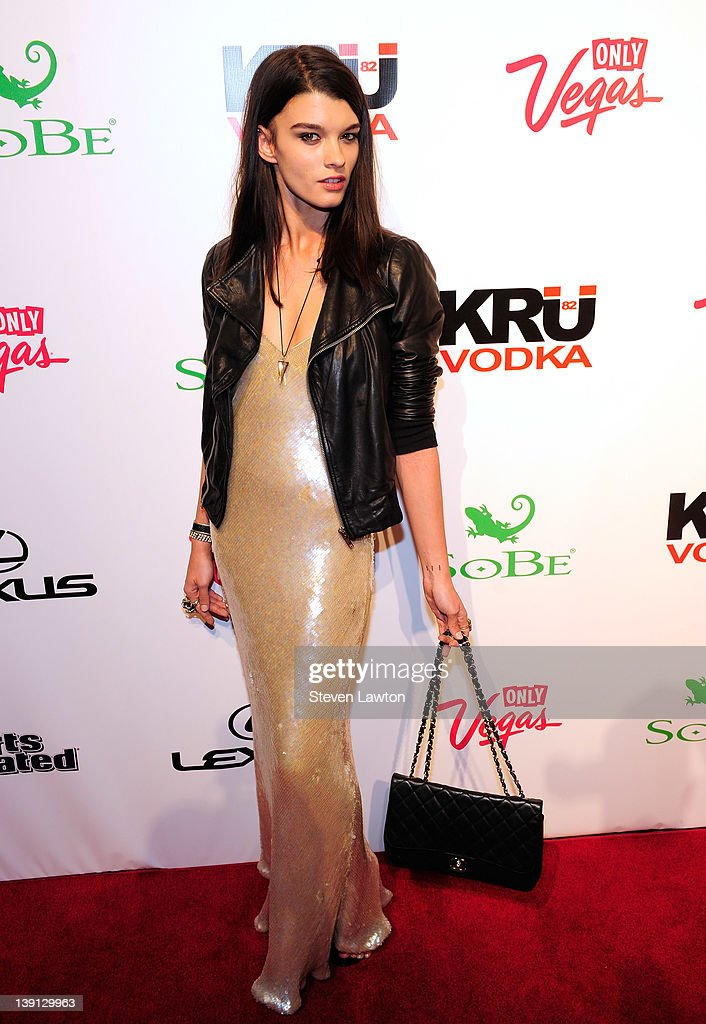 Sports Illustrated swimsuit model <a gi-track='captionPersonalityLinkClicked' href=/galleries/search?phrase=Crystal+Renn&family=editorial&specificpeople=2216376 ng-click='$event.stopPropagation()'>Crystal Renn</a> arrives for Club SI Swimsuit at the Pure Nightclub at Caesars Palace on February 16, 2012 in Las Vegas, Nevada.