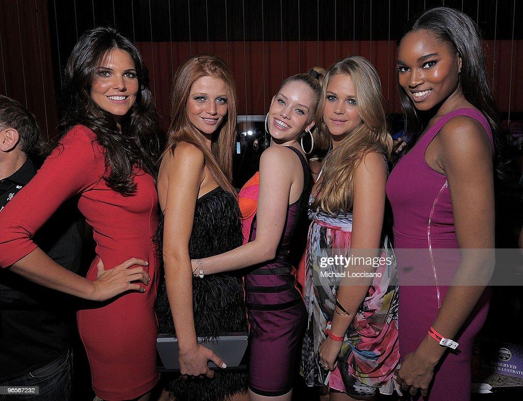 Sports Illustrated swimsuit models Daniella Sarahyba Cintia Dicker Julie Ordon Esti Ginszburg and Damaris Lewis attend the Sports Illustrated...