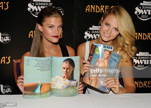 Sports Illustrated swimsuit models Nina Agdal and Kate Bock appear at Andrea's at Encore Las Vegas on June 28 2013 in Las Vegas Nevada