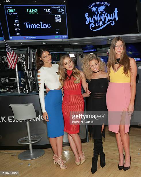 Sports Illustrated Swimsuit models Sofia Resing Tanya Mityushina Rose Bertram and Robyn Lawley pose for photographs before Time Inc Sports...