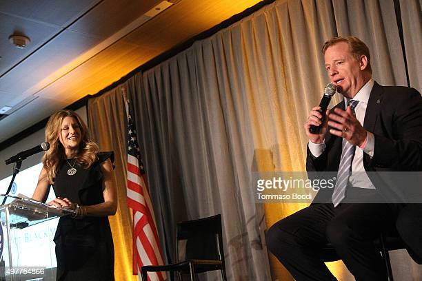 Sports journalist Bonnie Bernstein and NFL Commissioner Roger Goodell speak on stage during the National Football Foundation Leadership Hall Of Fame...