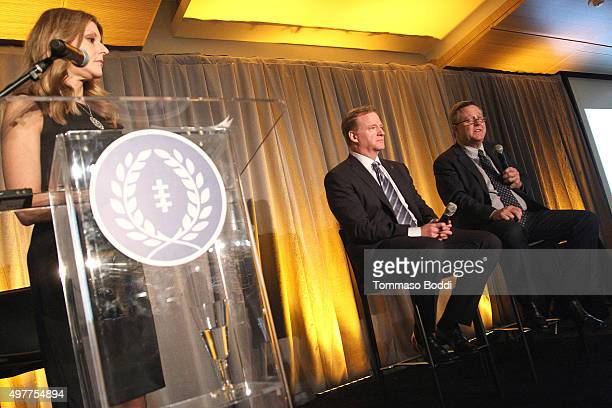 Sports journalist Bonnie Bernstein NFL Commissioner Roger Goodell and US Olympic Committee Scott Blackmun speak on stage during the National Football...