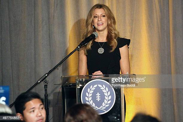 Sports journalist Bonnie Bernstein speaks on stage during the National Football Foundation Leadership Hall Of Fame Luncheon honoring Casey Wasserman...