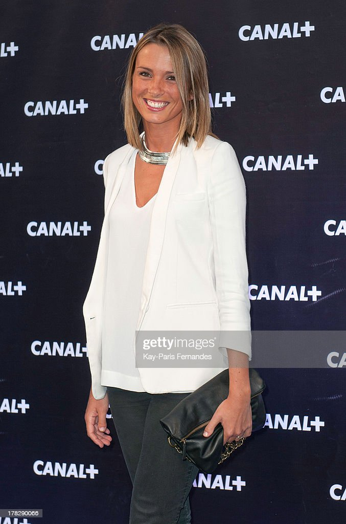 Sports journalist Isabelle Ithurburu at the 'Rentree De Canal +' photocall at Porte De Versailles on August 28, 2013 in Paris, France.