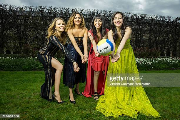 Sports journalists France Pierron Andrea Decaudin Alessandra Bianchi and Sonia Cameiro are photographed for Paris Match wearing clothing by Loris...