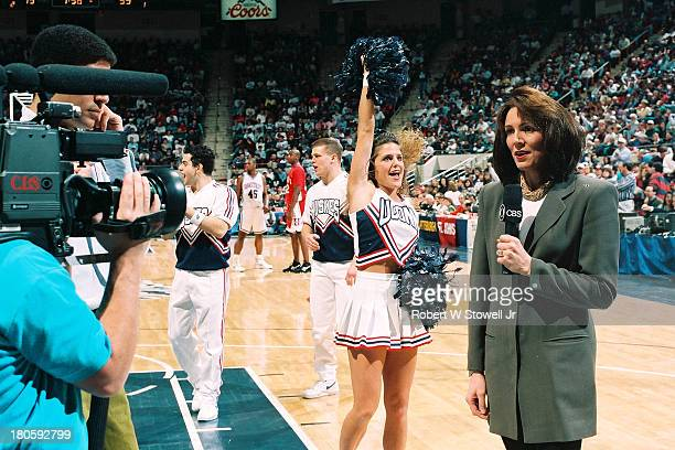 CBS Sports' Leslie Visser reports from the sidelines of a University of Connecticut basketball game Hartford Connecticut 1990