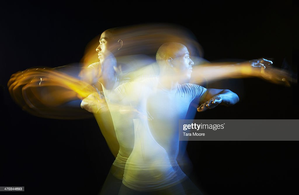 sports man exercising with motion blur : Stock Photo