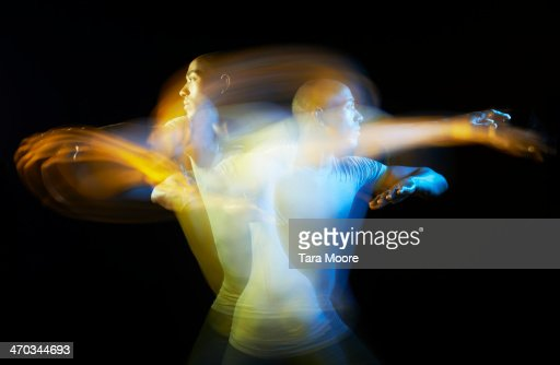 sports man exercising with motion blur
