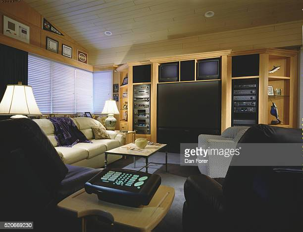 Sports Memorabilia in Family Room with Home Theater