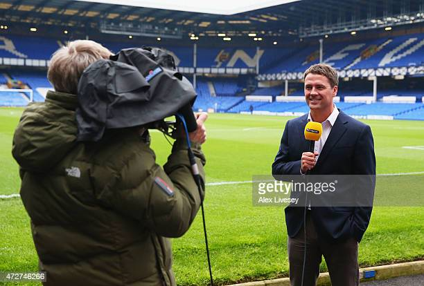 Sport's Michael Owen talks to camera prior to the Barclays Premier League match between Everton and Sunderland at Goodison Park on May 9 2015 in...