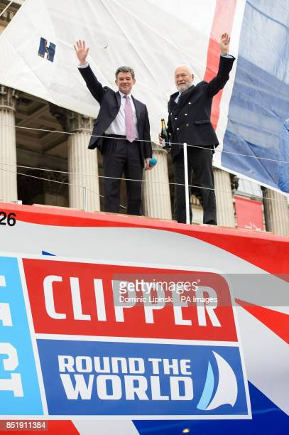 Sports Minister Hugh Robertson and Sir Robin KnoxJohnston aboard the yacht 'Great Britain' at a launch event in Trafalgar Square London
