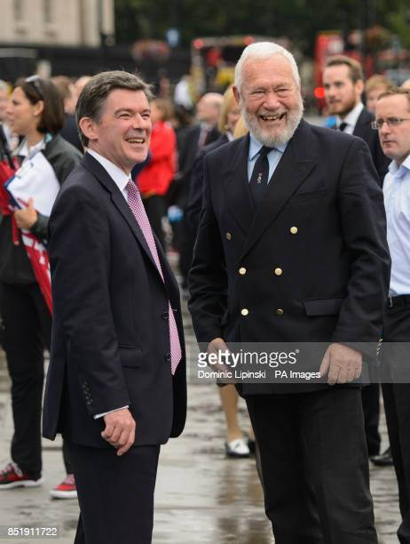 Sports Minister Hugh Robertson and Sir Robin KnoxJohnston at a launch event for the yacht 'Great Britain' in Trafalgar Square London PRESS...