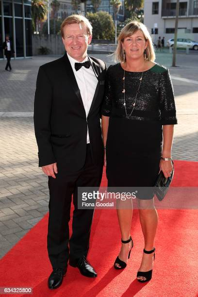 Sports minister Jonathan Coleman and wife Sandra Coleman arrive at the 54th Halberg Awards at Vector Arena on February 9 2017 in Auckland New Zealand