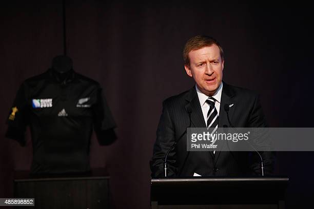 Sports Minister Jonathan Coleman speaks during the New Zealand All Blacks Rugby World Cup team announcement at Parliament on August 30 2015 in...