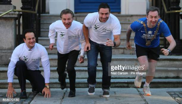 Sports Minister Leo Varadkar Senator Eamonn Coghlan Fine Gael election candidate Kenny Egan and Dublin Lord Mayor Oisin Quinn at the launch of the St...