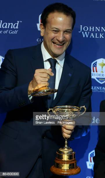 Sports Minister Leo Varadkar with the Ryder cup at a press conference at The Government Buildings Dublin