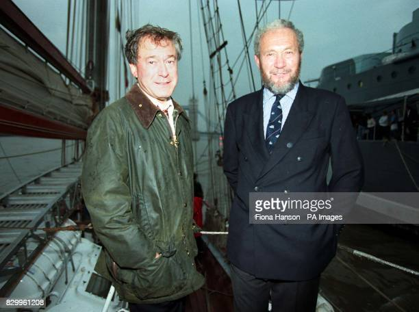 Sports Minister Tony Banks and roundtheworld yachtsman Sir Robin Knox Johnson arriving alongside HMS Belfast in the Pool of London this evening Mr...