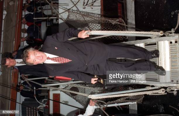 Sports Minister Tony Banks disembarks from the Sail Training Association vessel Malcolm Miller which moored along HMS Belfast in the Pool of London...