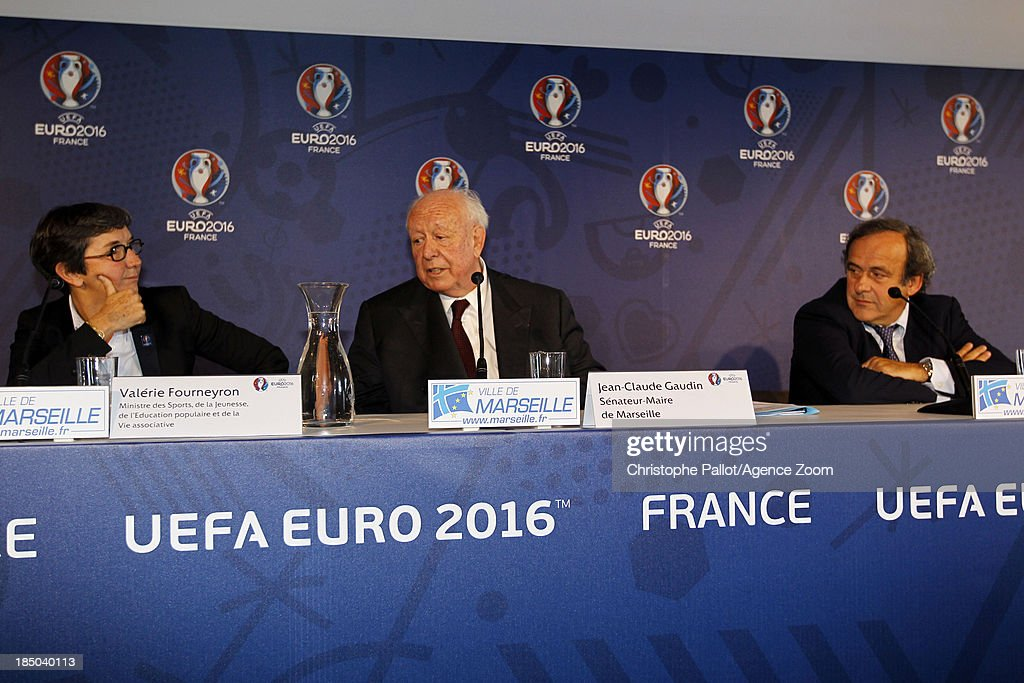 Sports Minister Valerie Fourneyron, Mayor of Marseille Jean Claude Gaudin, UEFA President <a gi-track='captionPersonalityLinkClicked' href=/galleries/search?phrase=Michel+Platini&family=editorial&specificpeople=206862 ng-click='$event.stopPropagation()'>Michel Platini</a> during the EURO 2016 Steering Committee Meeting, on October 17, 2013 in Marseille, France.