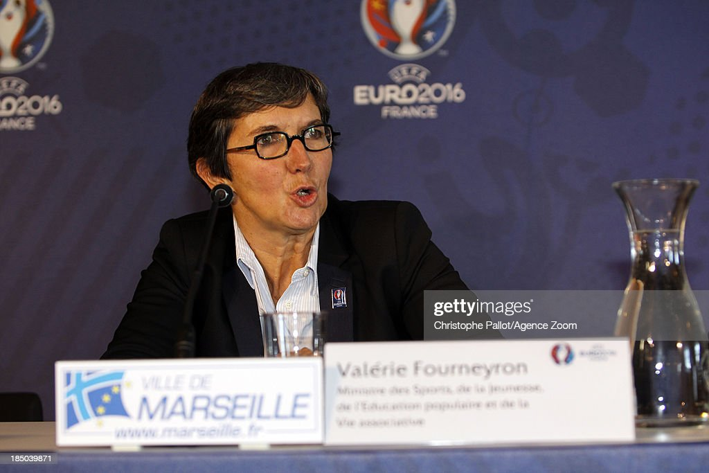 Sports Minister Valerie Fourneyron speaks during the EURO 2016 Steering Committee Meeting, on October 17, 2013 in Marseille, France.